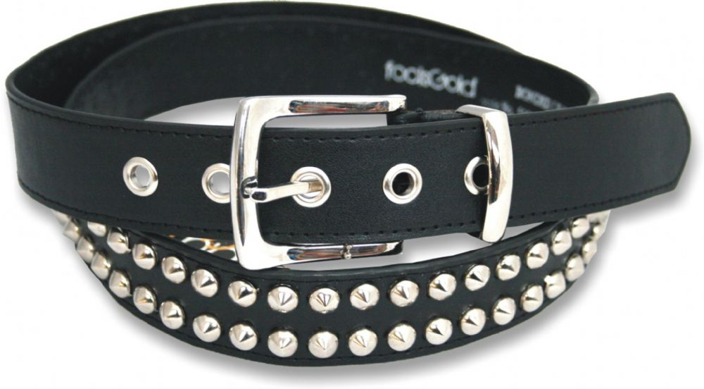 2 Row Conical Bonded Leather Studded Belt